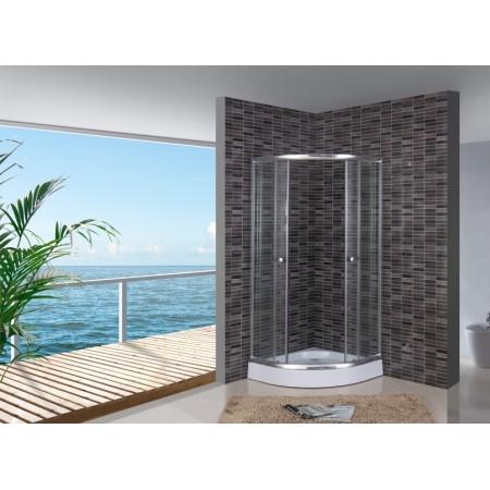 Кабина душова полукруглая 1001 CL ECO 100х100х195 под 15 см SERIE CLEAR