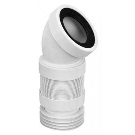 Колено к унитазу эластичное под углом 45°, с уплотнением L-110 мм. WC-CON16F McAlpine