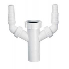 Удлинитель пластиковый к сифона для мойки с двойным подключением к стиральной машинки 1 1/ 2 * 40мм HC14 McAlpine