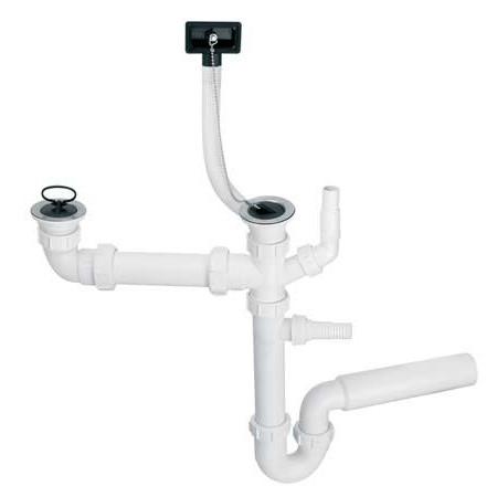 Сифон пластиковый трубный для двух моек со сливом 70мм, с переливом вертик.альним, с подключением к стиральной машине 1 1/ 2 * 50мм HC7 + DO2-U McAlpine