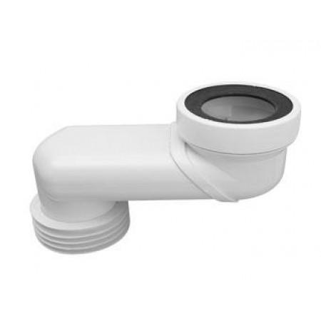 Патрубок пластиковый канализационный, короткий 160мм, эксцентричный смещение 60мм с фланцевой прокладкой